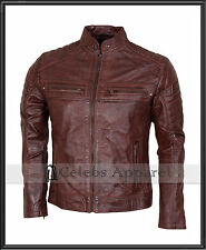 Mens Biker Vintage Brown Leather Waxed Cafe Racer Jacket Motorcycle wear