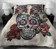 4 Pcs Skull Pattern Bedding Set Twin Full Size Duvet Cover Bed Sheet 2 Pillows