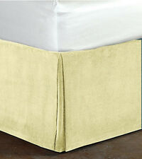 """New Queen Size 15""""Drop 100% Cotton Velvet Bedskirt/Valance Box Pleated - Ivory"""