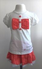 White Red Spotty Lace Frill Girls Skirt and Top Bow Set. FREE UKshipping!