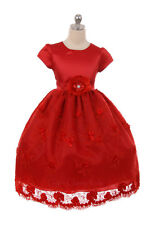 New Flower Girl Red Satin Tulle Dress Christmas Pageant Holidays Formal 352