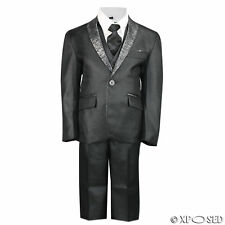 New Kids Page Boys 3 Piece Black Tuxedo Suit Wedding Party Formal Age 2 -12 Year