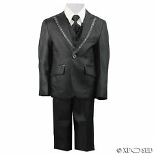 New Kids Page Boys 3 Piece Shiny Black Tuxedo Suit Wedding Party Age 2 - 12 Year