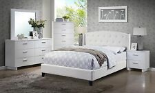 5PC CARA MODERN WHITE FINISH WOOD BYCAST LEATHER QUEEN KING PLATFORM BEDROOM SET