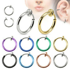 2Pcs Clip-On Spring Action Non-Piercing Fake Septum Lip Cartilage Nose Hoop Ring