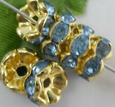 Free Ship 100Pcs Gold Plated Blue Crystal Spacer Beads 8mm
