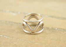 Modern Artisan Style Wavy Cut Out Band Ring Size 6 Sterling Silver