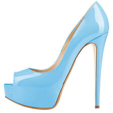 Womens Patent Platform Stiletto High Heels Pumps Sexy Open Toe Party Shoes