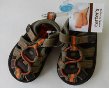 Carters Size 2 3 Green Brown Velcro Sport Sandals Summer Baby Toddler Boy Shoes