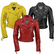 New Ladies Womens Real Leather Slim Fit Soft Zip Biker Style Jacket in Black Red