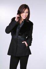 Women Black Wool Fur Coat Jacket Outerwear by Ci sono Cavalini S,M,L N WITH TAGS
