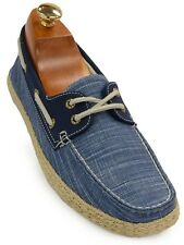 Gbx Mens Denim Blue Canvas Texture Slip On Comfortable Casual Boat Shoe