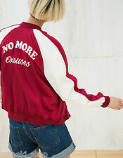BERSHKA (ZARA group) burgundy satin bomber jacket w embroidered back 6054/848