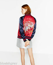 ZARA (inditex) hina matsuri asian embroidered  reversible bomber jacket 2969/247