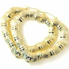 ICED OUT - Bamboo Hoops Ohrringe HEART gold 6cm