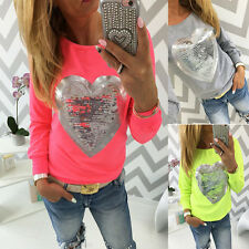 New Womens Fashion Casual Glitter Long Sleeve Tops Ladies Loose T-Shirt Blouse S