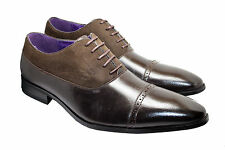 Mens Brown Classic Suede Leather Look Shoes Lace Up