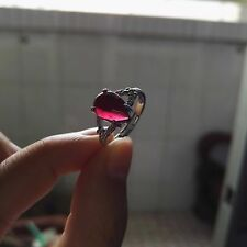 Natural Rose Red Garnet Crystal Silver Adjustable Size Ring 11x8mm AAAA
