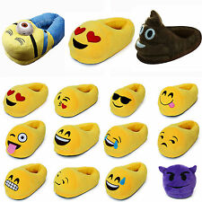 Emoji Plush Stuffed Unisex Slippers Cartoon Winter Warm Indoor Fluffy Shoes New
