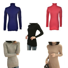 Women  Turtleneck Long Knit Ladies Solid Color Pullover Outwear Tops Sweater