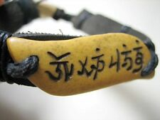 Men Tibet Real Leather Hemp XO Bone Bracelet Luck Symbol US