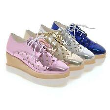 Womens Platform Creeper Wedge Brogue Oxfords Gladiator Lace Up Shoes Sz 4.5-10.5
