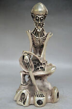8.4' COLLECTIBLE DECORATED OLD HANDWORK TIBET SILVER CARVED SKULL BUDDHA STATUE