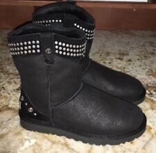 NEW Womens Sz 6 UGG Bowen Black Studded & Rhinestone Shearling Lined Ankle Boots