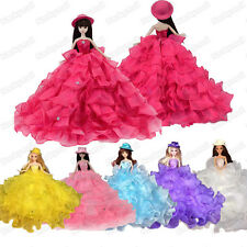 Gorgeous Multi Ruffled Princess Wedding Dress Clothes Gown W/Hat for Barbie Doll