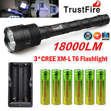 TrustFire 3X CREE XML T6 18000LM LED Flashlight Torch   6x 18650 Battery Charger