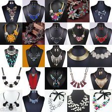 Women's Bib Crystal Flower Pearl Pendant Chunky Chain Collar Statement Necklace