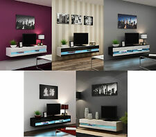 BMF VIGO NEW FLOATING TV STAND WALL MOUNTED MOUNTABLE UNIT GLOSS FRONTS - 180cm