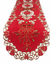 Fennco Styles Holiday Festive Design Embroidered and Cutwork Tablecloth Runner