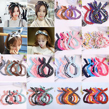 1Pcs Cute Women Girl  Bow Rabbit Bunny Ear Ribbon Hair Band Wire Headband Gift