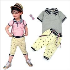 New 2pcs Cute Kids Baby Boys Short Sleeve T-Shirt+Straps Shorts Kids Clothes Set