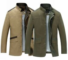 Luxyry Mens Business Jacket Military Coat Casual Utility Outwear