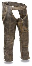 Mens Distressed Brown Leather Chaps, 4 Pocket, Removable Thermal Liner