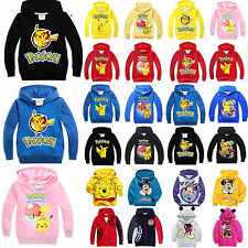 Pokemon Kids Pikachu Hooded Hoodies Sweatshirt Pullover Boys Girls Fancy Dress