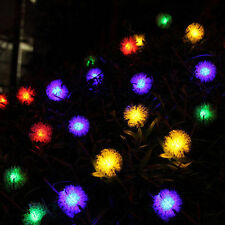 4.8m 20 LED Solar Powered Puffer Ball Outdoor Fairy String Lights Party Decorate