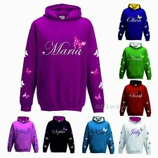 PERSONALISED GIRLS HOODIE WITH GLITTER GREAT QUALITY ANY NAME BUTTERFLIES KIDS C