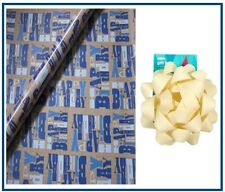 2M ROLL ASDA BLUE HAPPY  BIRTHDAY GIFT WRAPPING PAPER & BOW  -  PRESENT