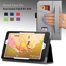 """For Acer Iconia Tab 8 W (W1-810) 8.0"""" PU Leather Stand Case Cover w/ Hand Strap"""