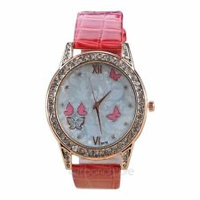 Butterfly & Flower Pattern  Women's  Rhinestone Analog Quartz Wrist Watch Cute