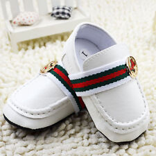 Baby Boy Girl White Gentleman Faux Leather Crib Shoes Loafers 0-6-12-18 Months