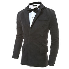 Mens Coat Casual Double-Breasted Slim Fit Outwear Overcoat Leisure Short Jacket
