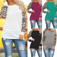 New Women Fashion Long Sleeve Loose T-Shirt Ladies Leopard Print Tops Blouse bD