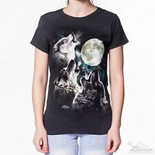 THREE WOLF MOON Womens T-Shirt Howling Wolves The Mountain Tee Top S-2XL NEW!