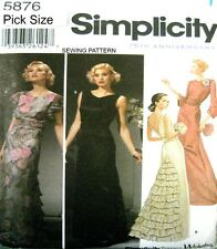 Simplicity Sewing Pattern 5876 Ladies Art Deco Style Evening Bridal Dress