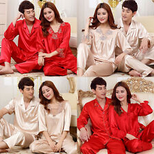 New Silk Satin Sleepwear Couples Women and Men Pajama Sets Tops Pants Pajamas S6