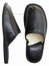 New Black Mens Leather Slippers Lambswool Shoes Wool Sheepskin size 7 8 9 10 11